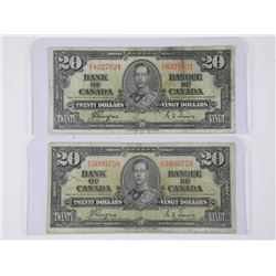 2x Bank of Canada 1937 Twenty Dollar Notes. C/T Ma
