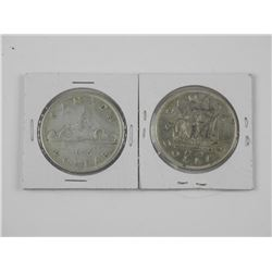 2x Canada Silver Dollar Coins - 1935 and 1949