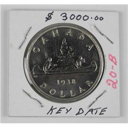 (WAB20) 1938 Canada Silver Dollar Coin. MS65 - Rar