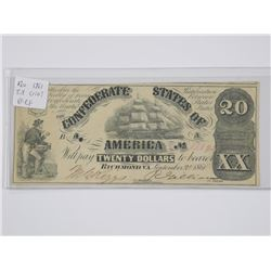 1861 CONFEDERATE USA Twenty Dollar Note. VF-EF. T.