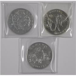 3x Canada .925 Silver Proof Dollar. 1994, 2001, 19