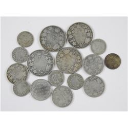 (16) Old Canadian Silver Coins Mix of George Edwar