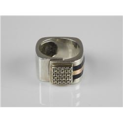 Estate 925 Sterling Silver Custom Ring with Diamon