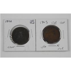 2x USA Large Cent Coins: 1802 and 1803 (CLIP)