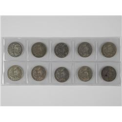 10x Canada Silver 50 cent coins