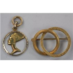 Estate 18Kt Gold 2pc Pin and Pendant Set Egyptian.
