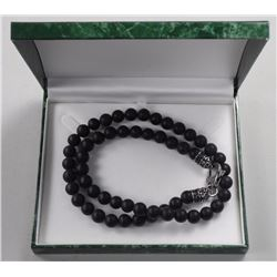 "Gents 22"" Lava Stone Bead Necklace."