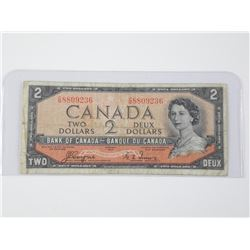 1954 Bank of Canada Two Dollar Note. Devil's Face