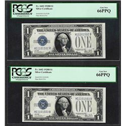 Lot of (2) Consecutive 1928B $1 Funnyback Silver Certificate Notes PCGS Gem New