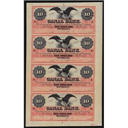 Uncut Sheet of $10 Canal Bank New Orleans Obsolete Notes