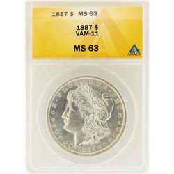 1887 $1 Morgan Silver Dollar VAM-11 ANACS MS63