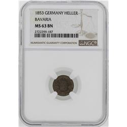 1853 Germany Bavaria Heller Coin NGC MS63BN