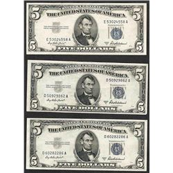 Lot of (3) 1953A $5 Silver Certificate Notes
