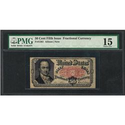 1874 50 Cent Fifth Issue Fractional Currency Note Fr.1381 PMG Choice Fine 15