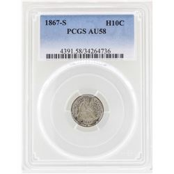 1867-S Seated Liberty Half Dime Coin PCGS AU58