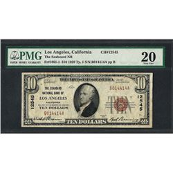 1929 $10 National Currency Note Los Angeles, California CH# 12545 PMG Very Fine