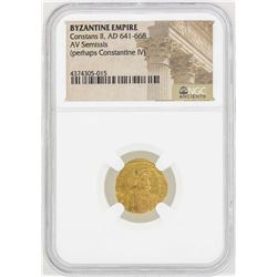 641-668 Byzantine Empire Constans II AV Semissis Gold Coin NGC Certified
