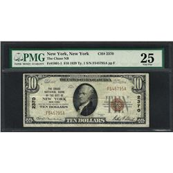 1929 $10 National Currency Note New York, New York CH# 2370 PMG Very Fine 25