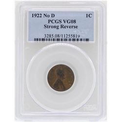 1922 No D Strong Reverse Lincoln Wheat Cent Coin PCGS VG08