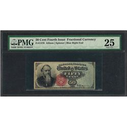 March 3, 1863 Fourth Issue 50 Cent Fractional Currency Note Fr.1376 PMG Very Fin