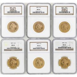 Lot of 1894-1899 $10 Liberty Head Eagle Gold Coins NGC MS62
