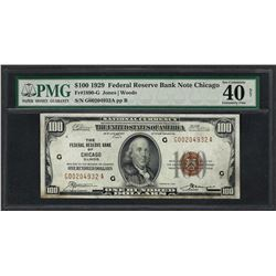 1929 $100 Federal Bank of Chicago Note Fr.1890-G PMG Extremely Fine 40 NET