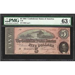 1864 $5 Confederate States of America Note T-69 PMG Choice Uncirculated 63EPQ