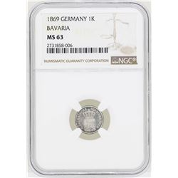 1869 Germany Kreuzer Bavaria Coin NGC MS63