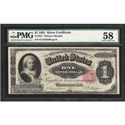1891 $1 Martha Washington Silver Certificate Note PMG Choice About Uncirculated