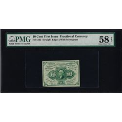 1862 First Issue 10 Cent Fractional Currency Note PMG Choice About Uncirculated