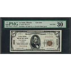 1929 $5 National Currency Note La Salle, Illinois CH# 2503 PMG Very Fine 30EPQ