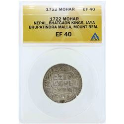 1722 Nepal Bhatgaon Kings Mohar Coin ANACS EF40