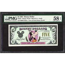 1991 $5 Disney Dollars Note PMG Choice About Uncirculated 58EPQ