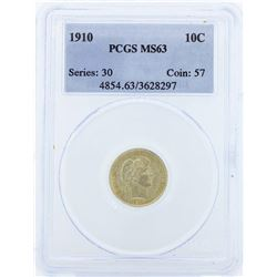 1910 Liberty Barber Head Dime PCGS MS63