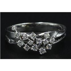 14KT White Gold 0.30 ctw Cluster Band Ring