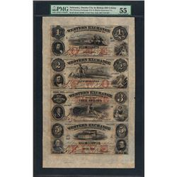 Uncut Sheet of $1/$2/$3/$5 Western Exchange Obsolete Notes PMG About Uncirculate