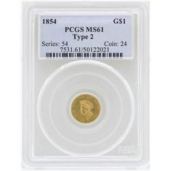 1854 $1 Indian Princess Head Gold Coin Type 2 PCGS MS61
