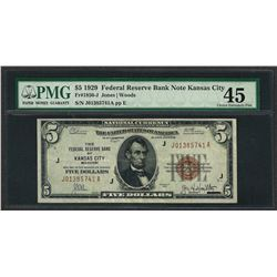 1929 $5 Federal Bank of Kansas City Note Fr.1850-J PMG Choice Extremely Fine 45