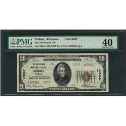 1929 $20 National Currency Note Mobile, Alabama CH# 13097 PMG Extremely Fine 40