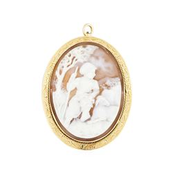 14KT Yellow Gold Cameo Pendant/Pin