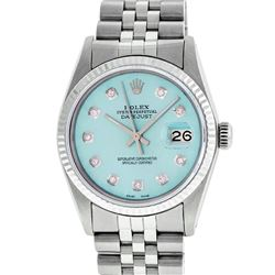 Rolex Mens 36mm Stainless Steel Ice Blue Diamond Datejust Wristwatch