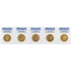 Lot of (5) 1890's S Mint $20 Liberty Head Double Eagle Gold Coins PCGS MS61
