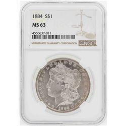 1884 $1 Morgan Silver Dollar Coin NGC MS63