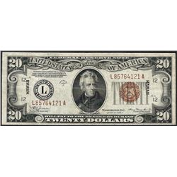 1934 $20 Hawaii Federal Reserve Note WWII Emergency Note