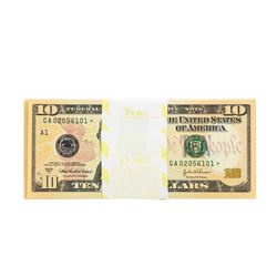 Pack of (100) Consecutive 2004A $10 Federal Reserve STAR Notes Uncirculated