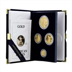 1993 (4) Coin American Gold Eagle Proof Coin Set with COA