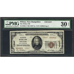 1929 $20 National Currency Note Wilton, New Hampshire CH# 13247 PMG Very Fine 30