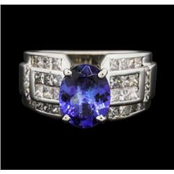 18KT White Gold 2.40 ctw Tanzanite and Diamond Ring