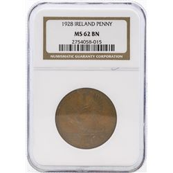 1928 Ireland Penny Coin NGC MS62 BN