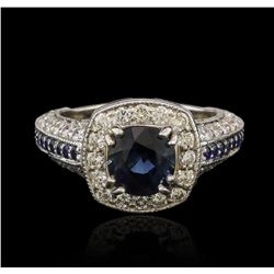 14KT White Gold 2.92 ctw Blue Sapphire and Diamond Ring